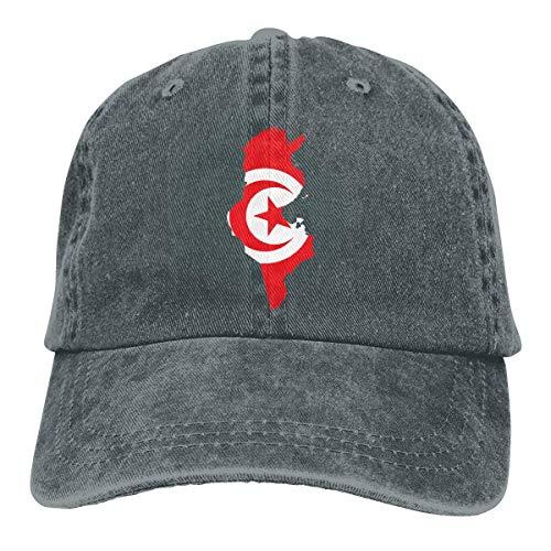 Gorra De Béisbol Trucker,Frontera De Mapa De Túnez con Bandera Adulto Gorra De Béisbol,Respirable Sombrero De Sol,Unisex Gorra De Náutica,Hombre Mujer Classic BB Cap,Moda Gorras De Golf
