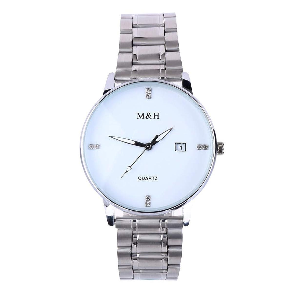 火アリマチュピチュWaminger[ワミナー] 父の日 人気 高級 メンズ 腕時計プレゼント 多機能 水晶 簡単 カレンダー ラインストーン ダイヤル ステンレス鋼軽量 耐衝撃 かっこいい ボーイズ 男性用 時計 (シルバー)