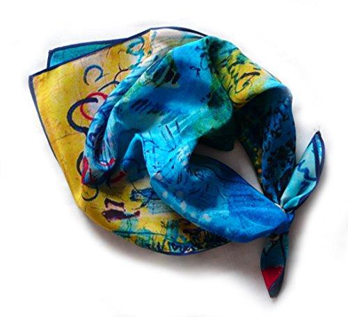 Kopftuch QUADRATISCH Crêpe aus 100% Seide, 52cmx52cm. Farbe gelb, blau, grün etc.