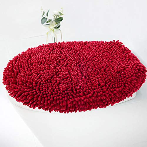 MAYSHINE Chenille Seat Cloud Bath Washable Shaggy Microfiber Standard Toilet Lid Covers for Bathroom -Red