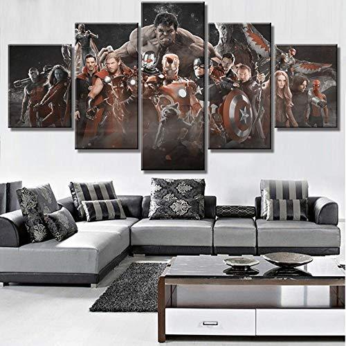 JIONGJIONG Stampe E Quadri su Tela Canvas HD Prints Pictures Wall Art 5 Pezzi Paintings Poster con Cornici Film di Avengers Infinity War 150x80cm