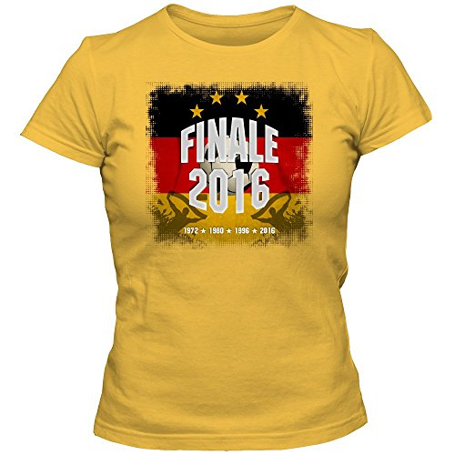 Deutschland Finale WM 2018 T-Shirt   Fußball   Damen   Die Mannschaft   Fanshirt   Trikot   Nationalmannschaft, Farbe:Gelb (Gold L191);Größe:L