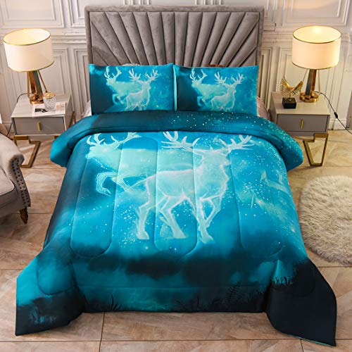 JQinHome Queen 3-Piece Galaxies Moose Comforter Sets - Elk Themed - All-Season Down Alternative Quilted Duvet -Dreaming Elk Character - Includes Comforter, 2 Pillow Shams (Galaxy Blue)