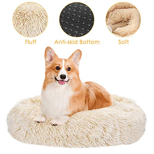 SlowTon Haustierbett Schöne Tierbett Hundesofa Katzensofa Kissen, Donut-Kuschelnest Warmes weiches Plüsch (L (Durchmesser 27.6 inch), Khaki)