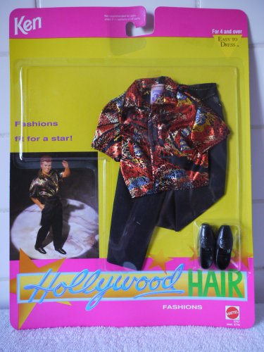 Barbie KEN HOLLYWOOD HAIR Fashion #3767 - Orange/Gold/Silver/Black Lame Shirt with Black Pants (1992)