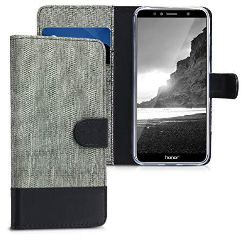 kwmobile Hülle kompatibel mit Huawei Honor 7A - Kunstleder Wallet Case mit Kartenfächern Stand in Grau Schwarz