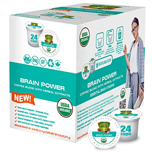 SOLLO Brain Power Medium Roast Coffee Pods with MCT, Acai & Vitamins B1, B5, B6, B9, B12, D3 Nootropic Brain Booster- Improves Memory & Focus Compatible with 2.0 K-Cup Keurig Brewers, 24 Count