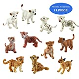 TOYMANY 11 Safari Animal Figurines, High Emulational Detailed Baby Plastic Zoo Animals, Lions Tigers Cheetahs Lynx Figure Toy Set, Easter Eggs Cake Toppers Christmas Birthday Gift for Kids Toddlers