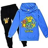 Proxiceen Pikachu Pokemon - Sudadera con capucha y pantalón para niño y niña, impresión digital 3D, diseño de anime Cosplay A5. 140 cm
