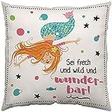 Gruss und Co 45636 Zierkissen Meerjungfrau Fräulein Meer, Baumwolle, Mehrfarbig, 40 x 40 cm,...