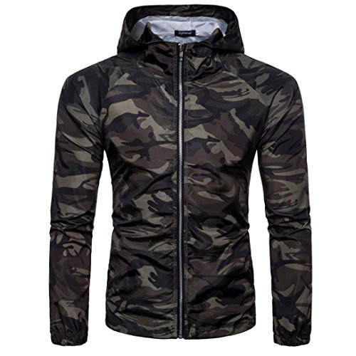 MRULIC Herren Sommer Camouflage Print Sonnenbräunungssichere Pullover Kapuzen-T-Shirt Top Bluse(B-Grün,EU-52/CN-L)