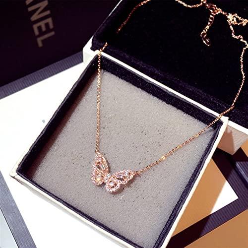Mujer moda zirconia mariposa collar encanto mariposa joyería colgante *1* (Metal Color : Rose gold)