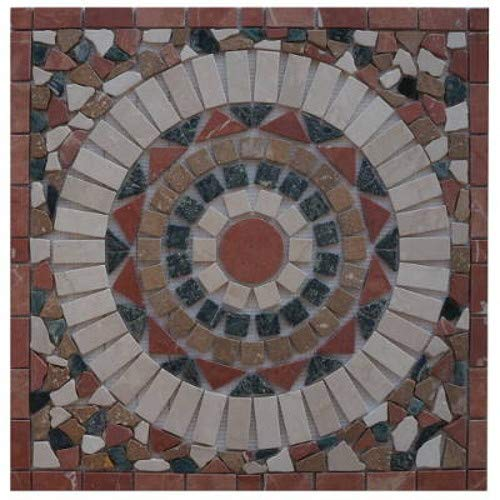 Antikmarmor Rosone 60x60 Windrose Mosaik Fliesen Naturstein Rosso Verona 23015