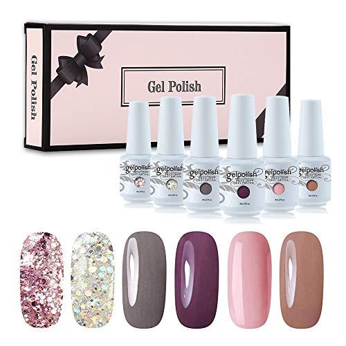 Vishine Gel Nail Polish Sets 6 Colors Glitter UV LED Soak Off Gel Polish Set Manicure Varnish Gift Set C001