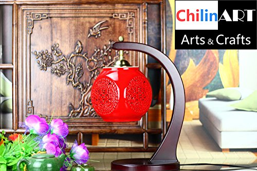 China traditional lamp, ceramic lamp Handmade, the most popular pattern, Double Happiness carving patterns