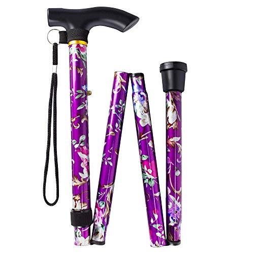 BeGrit Bastón Plegable Dependable Altura Ajustable Ligero Palo Plegable Bastón con bastón de aluminio floral púrpura