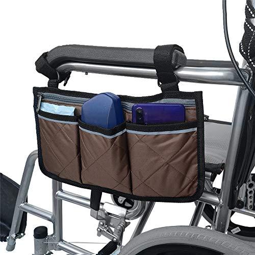 Compact Carry Hands Free Front- Oder Seitentasche, Rollstuhl Und Walker Seitentasche Für Elektrischen Oder Manuellen Scooters, Rollatoren,Braun