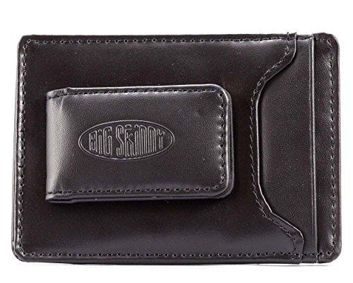 Big Skinny Men's Leather Magnetic Money Clip Slim Wallet, Holds Up to 12 Cards, Black