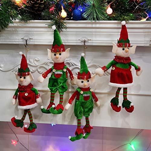 Houwsbaby 4 piezas de elfos de peluche para parejas de Navidad para niños y niñas, juguetes colgantes de felpa, adornos de Navidad en el estante, 30,5 cm