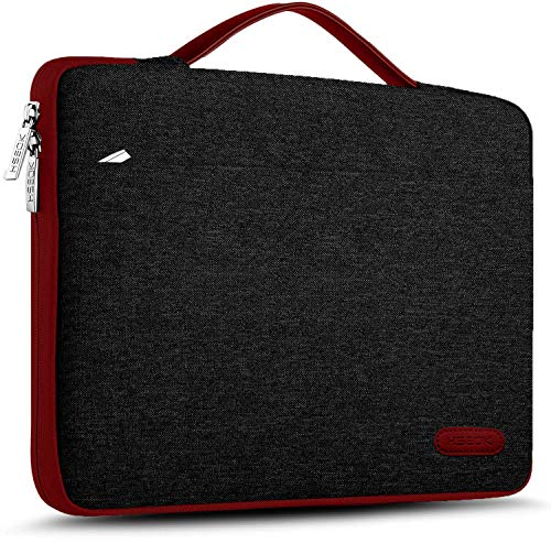 HSEOK Laptop Sleeve 15 15.6 16 Inch Case Briefcase Compatible With MacBook Pro 16 15.4 Inch and Most Popular 15'-16' Dell Lenovo HP Asus Acer Samsung Sony Notebooks, Black&red