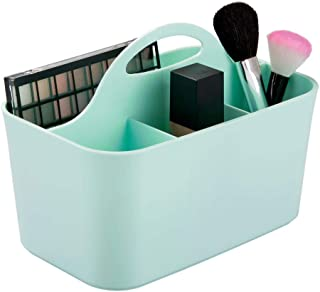 mDesign Plastic Makeup Storage Organizer Caddy Tote - Divided Basket Bin, Handle for Bathroom - Holds Eyeshadow Palettes, Nail Polish, Makeup Brushes, Blush, Shower Essentials - Small - Mint Green