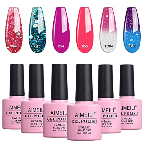 AIMEILI UV LED Thermo Gellack mehrfarbig ablösbarer Glitzer Nagellack Gel Polish Set - 6 x 10ml - Kit Nummer 8