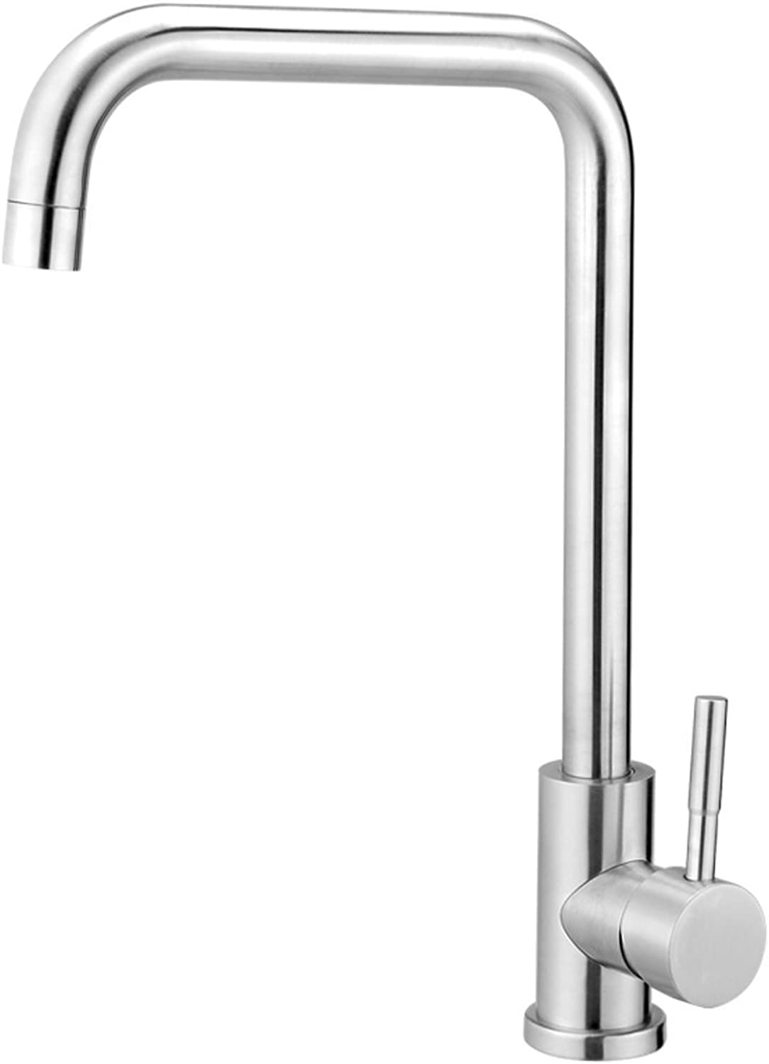 304 stainless steel faucet Kitchen sink hot and cold water faucet Lead-free sink faucet Brushed redary faucet (color   A)