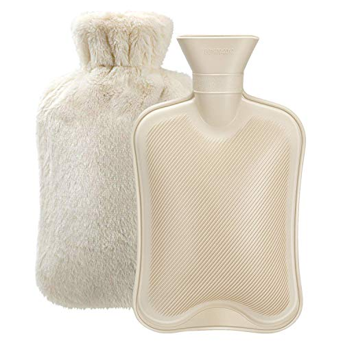 Hot Water Bottle with Soft Cover (2 Liter) Classic Rubber Hot Water Bag for Cramps, Neck, Shoulders Pain Relief, Hot Cold Pack for Hot and Cold Therapy and Feet Warmer, Great Gift for Women and Girls