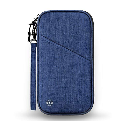 Vemingo Family Passport Holder with Accordion Design RFID - Blocking Travel Wallet Ticket Holder Document Organizer with Zipper for Women Men, Fits 4 Passports