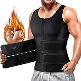 Cimkiz Sauna Sweat Vest Body Shaper for Mens Waist Trainer Zipper Neoprene Sauna Suit Tank Top (Black with Belt, Medium)