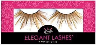Elegant Lashes F138 Premium Brown/Caramel/Tan Feather False Eyelashes Halloween Dance Rave Costume