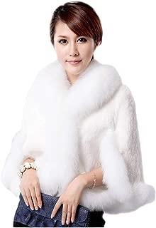 Dawwoti Women's Faux Fur Short Jacket Fleece Long Sleeve Luxury Chunky Sweater Cape for Christmas Party