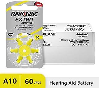 GREEN LIFE-Ear Care - 60 PCS RAYOVAC EXTRA Zinc Air Performance Hearing Aid Batteries A10 10A 10 PR70 Hearing Aid Battery ...