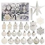 Juego de 130 adornos para árbol de Navidad, color plateado y blanco, decoración de árbol de Navidad, decoración de plástico inastillable para Navidad, boda, fiesta