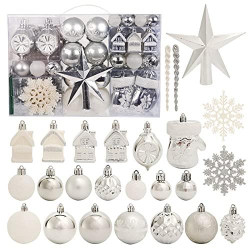 Juego de 130 adornos para árbol de Navidad, color plateado y blanco, decoración de árbol de Navidad, decoración de plástico inastillable para Navidad, boda, fiesta ⭐