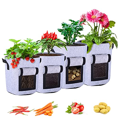 KAJIABELL Growing Pots for Plants 7&10 Gallon - Garden Pots for Growing Vegetables with Handles Fabric Planters Grow Bags for Plant Potato Tomato Onion Carrot (4-Pack)