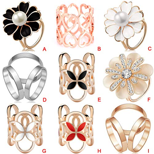 9 Pcs Rhinestone Scarf Rings Clip Brooch Pin Hollow Out Cross Silk Shawl Buckle Holder for Wedding Party (Style 4)
