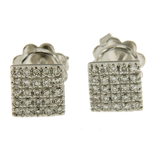 Orecchini quadrati con pavè di diamanti in oro bianco 750 18kt - N277