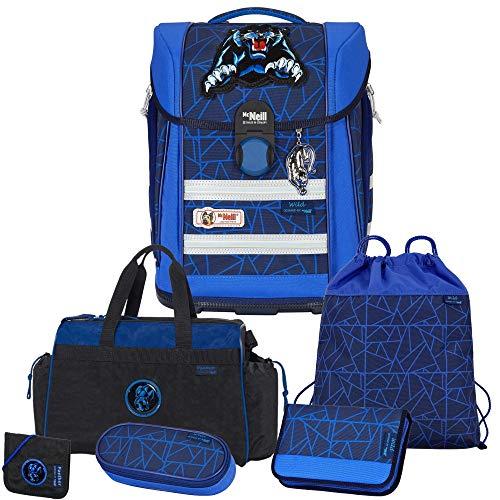 WILD - Panther - McNeill Ergo Primero McLight mit McAddy LED-Schulranzen-Set 6tlg. mit Sporttasche und BRUSTBEUTEL