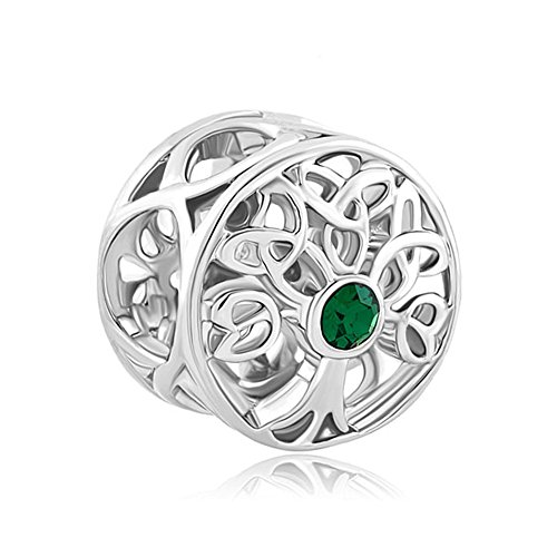 Pandora Charms Similar Style Silver Plated Lucky Family Tree of Life Green Birthstone Celtic Knot Charm Bead (4.8-5mm), 11.4mm