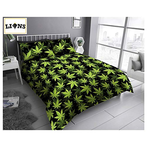 Lions Cannabis Marijuana Bedding Set - Weed Leaf Duvet Quilt Cover With Pillow Case | Reversible | Poly-Cotton | Easy Care | 3 Piece | Kingsize Bed | Green/Black | 230 x 220 cm