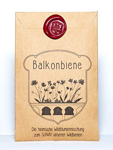 """Balkonbiene """"Halbschattenbalkon"""" - die erste Samenmischung speziell für bedrohte Wildbienen mit seltenen heimischen Wildblumen, extra für den schattigen Balkon"""