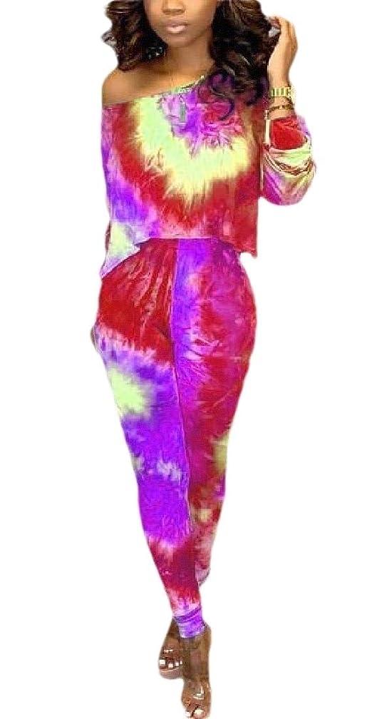 大きさバルーンコモランマ女性の長袖クロップトップとロングパンツタイ染料2ピーストラックスーツ