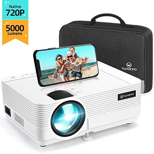"VANKYO Proiettore 720P Native 5000 Lumen, Videoproiettore Display da 250"" HiFi Speaker, 2 Porte HDMI, con Borsa Portatile, Design Compatto per iOS / Android TV Stick Chromecast XBOX, Leisure 470C"