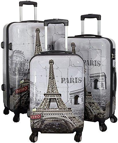 Polycarbonat Reisekoffer Trolley Hartschale - Design Eiffelturm Paris Frankreich (Kofferset 3tlg)