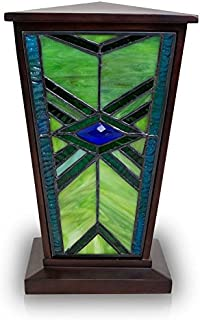 OneWorld Memorials Mission Style Stained Glass Cremation Urn - Large - Holds Up to 200 Cubic Inches of Ashes - Green Cremation urn for Ashes - Engraving Sold Separately