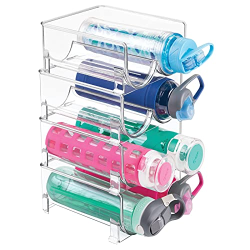 mDesign Juego de 4 botelleros apilables – Práctico organizador de nevera para botellas de agua y vino – Botelleros dobles para...