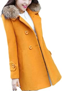 Macondoo Womens Faux Fur Collar Overcoat Fall Winter Woolen Pea Coat Jacket