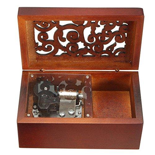 Antik Gravur Holz Aufzieh Spieluhr, Lilium aus lila Elfen gelogen, Spieluhr, mit Versilberung Bewegung in, Rechteck