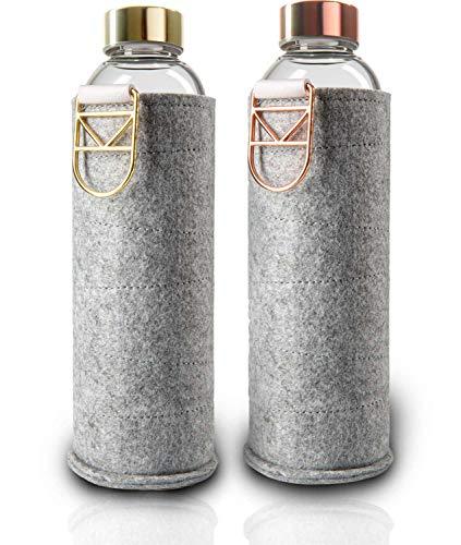 Luna Nova Trinkflasche aus Glas (650 ml) mit Filzhülle | Borosilikatglas | BPA-frei | Spülmaschinenfest | Wasserflasche/Glasflasche für Kinder, Büro, Fitness, Yoga, Sport & Outdoor (Rose/Gold)